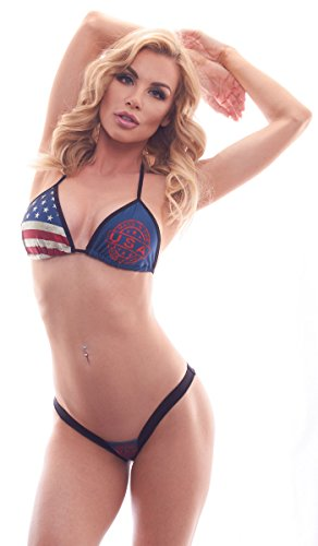 BodyZone Apparel Women's Patriotic Made in The USA Print Tri-Top and Matching Patriotic Heart Back Thong Panty.