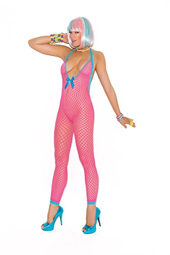 8943 Women's Open Crotch And Peek-A-Boo Back Crochet Bodystocking_Neon Pink_OS