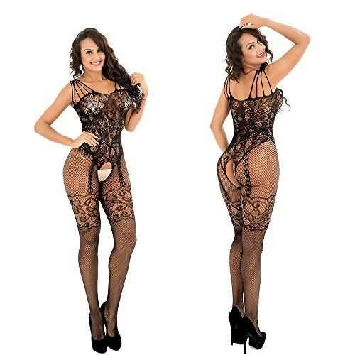 Women Sexy Open Crotch Mesh Fishnet Bodystocking Stocking Lingerie