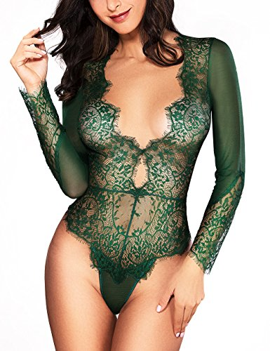 LOVEYOUSEXY Women Sexy Lingerie Long Sleeve Bodysuit Sexy Lace Deep V Bodysuit Lingerie Sheer Teddy Lingerie (Green, M)