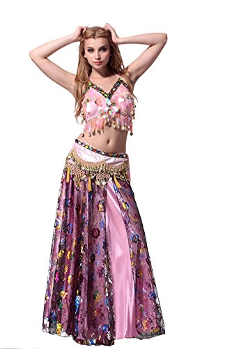 Feimei Woman Exotic Jasmine Tribal Belly Dance Costume With Halter Top Sparkly and Fringe Skirt