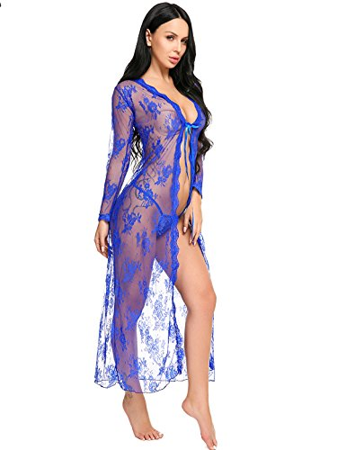 Ladies Night Dresses Lingerie Nightdress Long Sleeve Nightshirt Front Open Lace Sleepshirt,1_blue Lingerie Robe,XX-Large