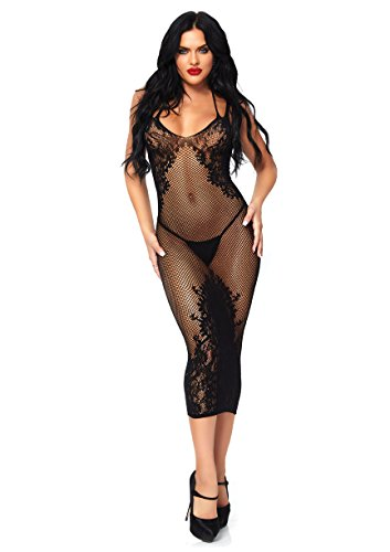 Leg Avenue Women's Seamless Net and Lace Dual Strap Halter Dress with Lace-up Back, Black, O/S