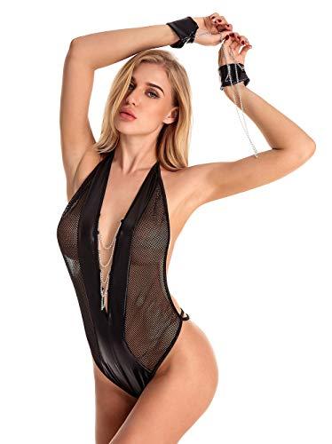Sexy Lingerie,Women Sexy Lingerie Teddy Deep V Halter Lace Bodysuit with Bracelets and Ceinture – Jet