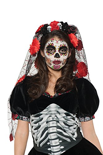 Underwraps Women's Day of The Dead Headdress Costume – Rose Veil Mantilla
