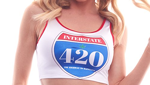 BODYZONE Apparel Women's 420 Collection High Times Highway to Happiness Print Crop Top.