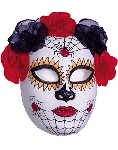 Womens Dia de los Muertos Mask – With Rose and Spider Accents for Day of the Dead Costumes