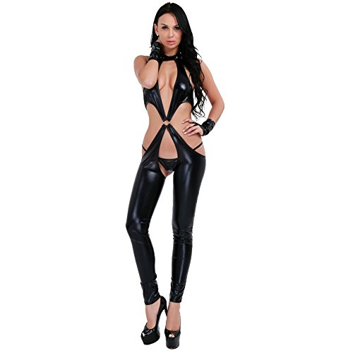 iEFiEL Woman Lady Black PU Faux Leather Erotic Gothic Fetish Lingerie Bodysuit Clubwear