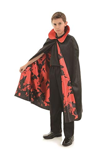 Satin Inner Bat Print Child Cape Black/Red Underwraps