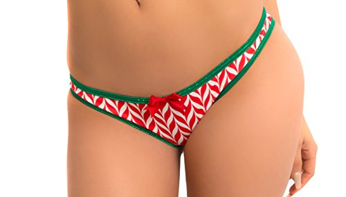 BODYZONE Apparel Women's Candy Cane Scrunch Bikini Panty.