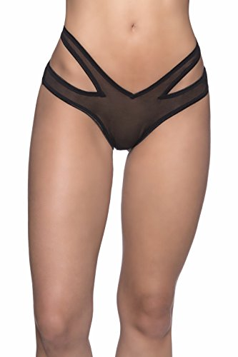 Oh la la Cheri Gold Buckle Crotchless Tanga, One Size, Black