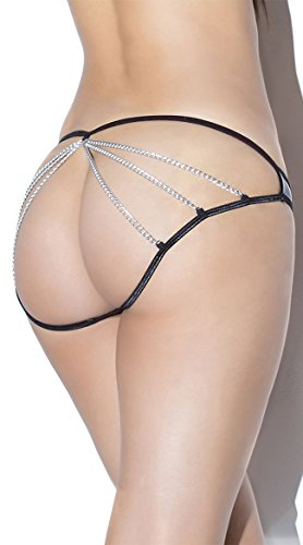 Coquette Curvy Plus Size Sexy Wet Look Metal Chain Caged Panty- Fits Size 14-20