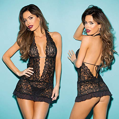 Hot 3 Piece Stretch Lace Gartered Chemise, Black, One Size, Shirley of Hollywood Lingerie