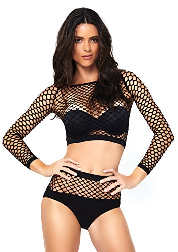 Leg Avenue Industrial Fishnet Crop Top and Opaque Bottom Lingerie Set