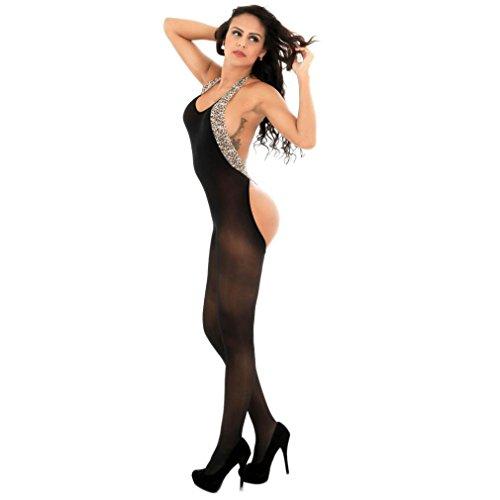Women Bodystocking, OOEOO Sexy Lingerie Leopard Halter Perspective Underwear Suspender