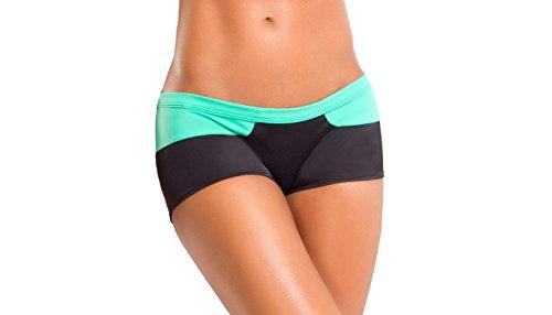 BodyZone Apparel Yoga & Fitness Splash Two-Tone Short. Black/Mint. Medium/Large. Made in the USA.