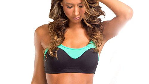 BodyZone Apparel Yoga & Fitness Splash Two-Tone Top. Black/Mint. Small/Medium. Made in the USA.