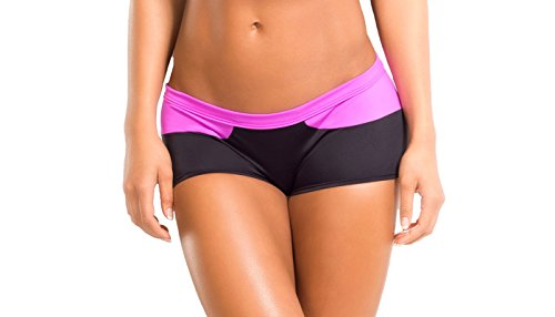 BodyZone Apparel Yoga & Fitness Splash Two-Tone Short. Black/Fuchsia. Small/Medium. Made in the USA.