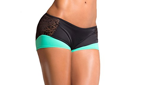 BodyZone Apparel Yoga & Fitness Phoenix Two-Tone Scrunch Back Short. Black/Mint. Medium/Large. Made in the USA.