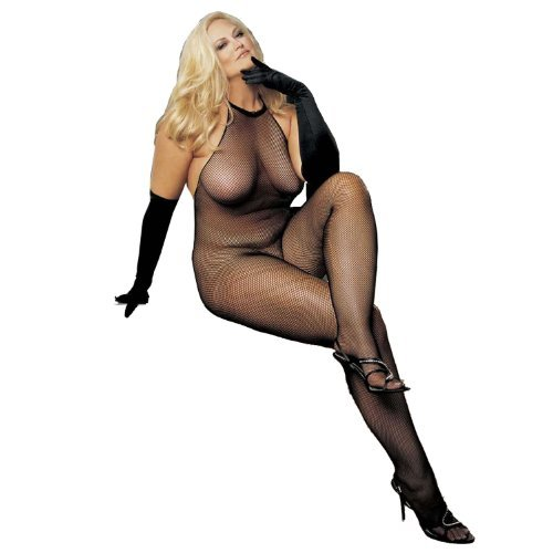 Plus Size Fishnet and Lace Halter-Top Body Stocking by Shirley of Hollywood
