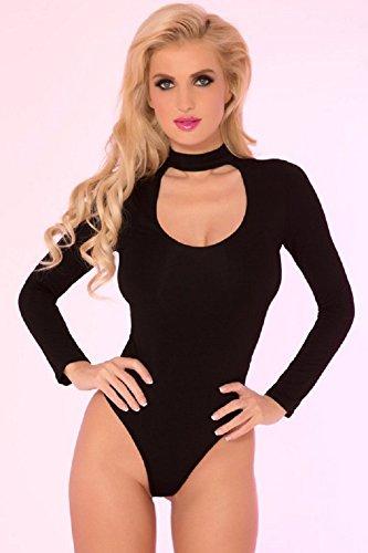Pink Lipstick Lingerie Womens Choker Plunge Bodysuit (S/M, Black)