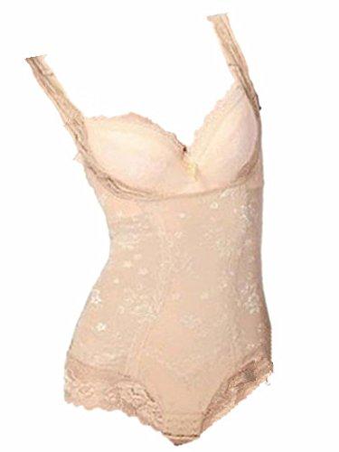 Womens Tummy Control Underbust Body Slimming Lace Shapewear Shaper Suit (XXL ( US XL), Nude)
