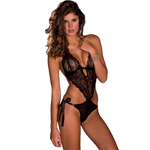 Rene Rofes Womens Lace V-Front Tie Back Side Tie Teddy (M/L)