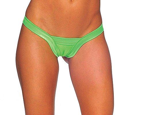 BODYZONE Apparel Women's Comfort V Thong Panties. Medium/Large. (Neon Green)