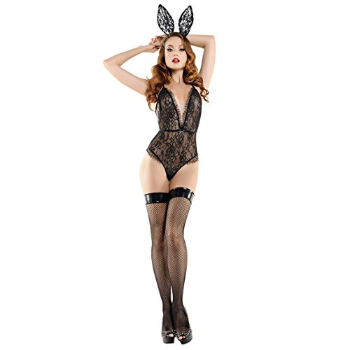 Women Sexy Bunny Costume Lace Bodysuit Rabbit Outfit Lingerie Set with Bunny Ears Black